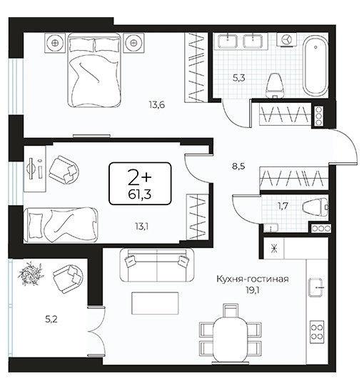 Квартира 2+